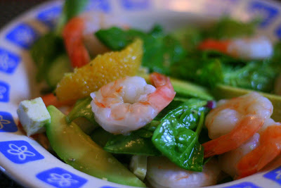 Petite salade aux crevettes, épinards et orange - Cinq Fourchettes
