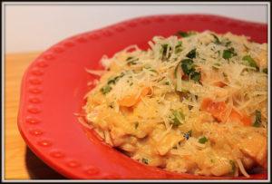 Risotto crémeux au saumon et basilic - Cinq Fourchettes