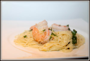 Capelli d'angelo citron-parmesan-crevettes Cinq Fourchettes