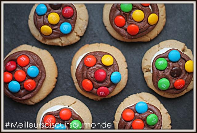 biscuits beurre d'arachide, guimauve et M&M