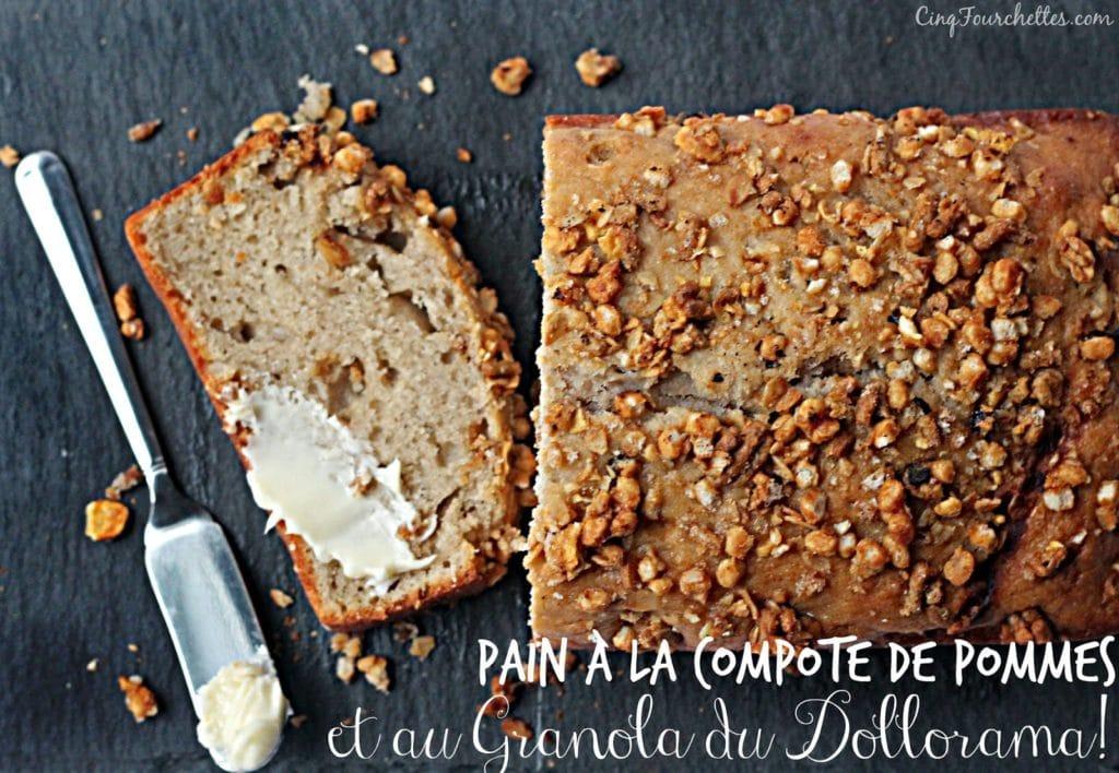 pain à la compote de pomme et au granola - Cinq Fourchettes