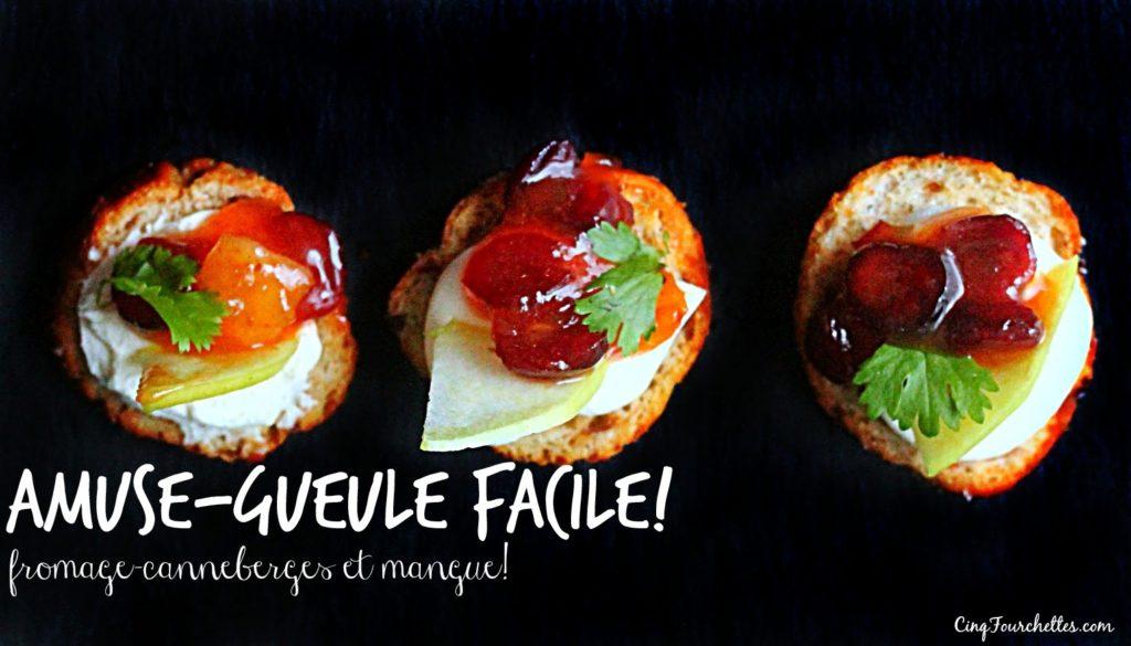 Amuse-gueule facile au chutney, au fromage et aux canneberges! - Cinq Fourchettes