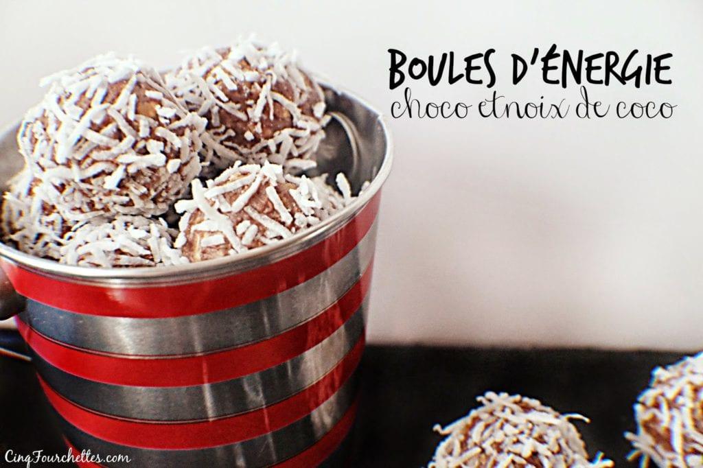 Boules d'énergie choco et noix de coco Cinq Fourchettes
