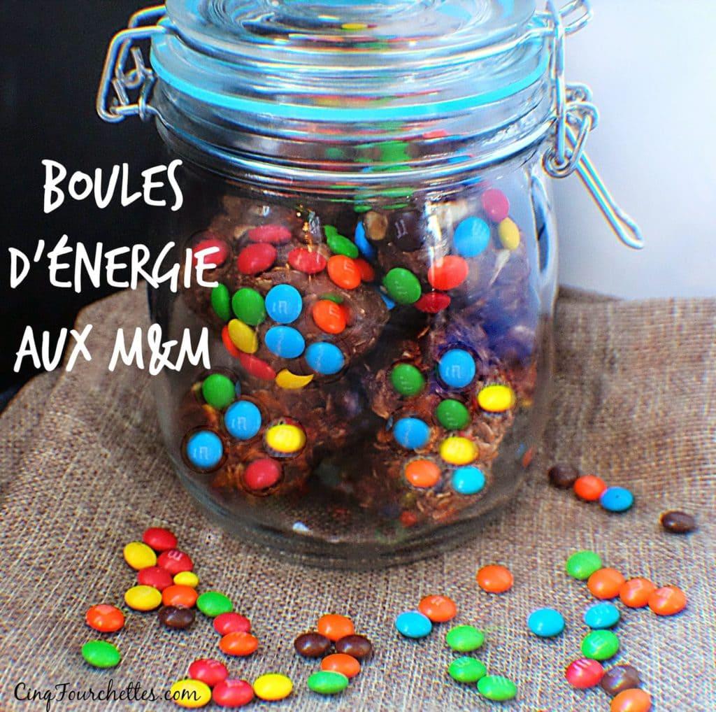 Bouchées au beurre d'arachide Boules d'énergie aux M&M Cinq Fourchettes