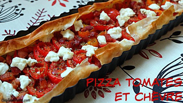 Pizza tomates et chèvre prête en 15 minutes tapant! - Cinq Fourchettes