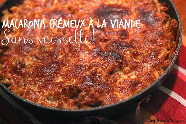 One pot pasta macaroni crémeux à la viande Cinq Fourchettes