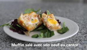 Muffin à déjeuner original avec un oeuf complet à l'intérieur! Cinq Fourchettes