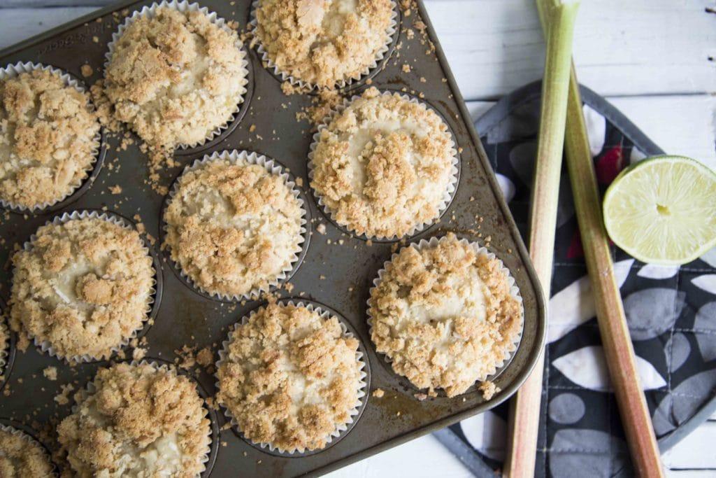 Muffin Rhubarbe Lime Coco / Cinq Fourchettes