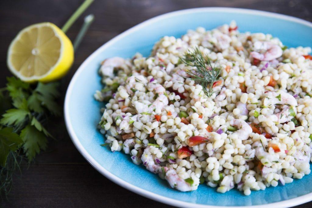 Salade de couscous Israélien aux crevettes / Cinq Fourchettes