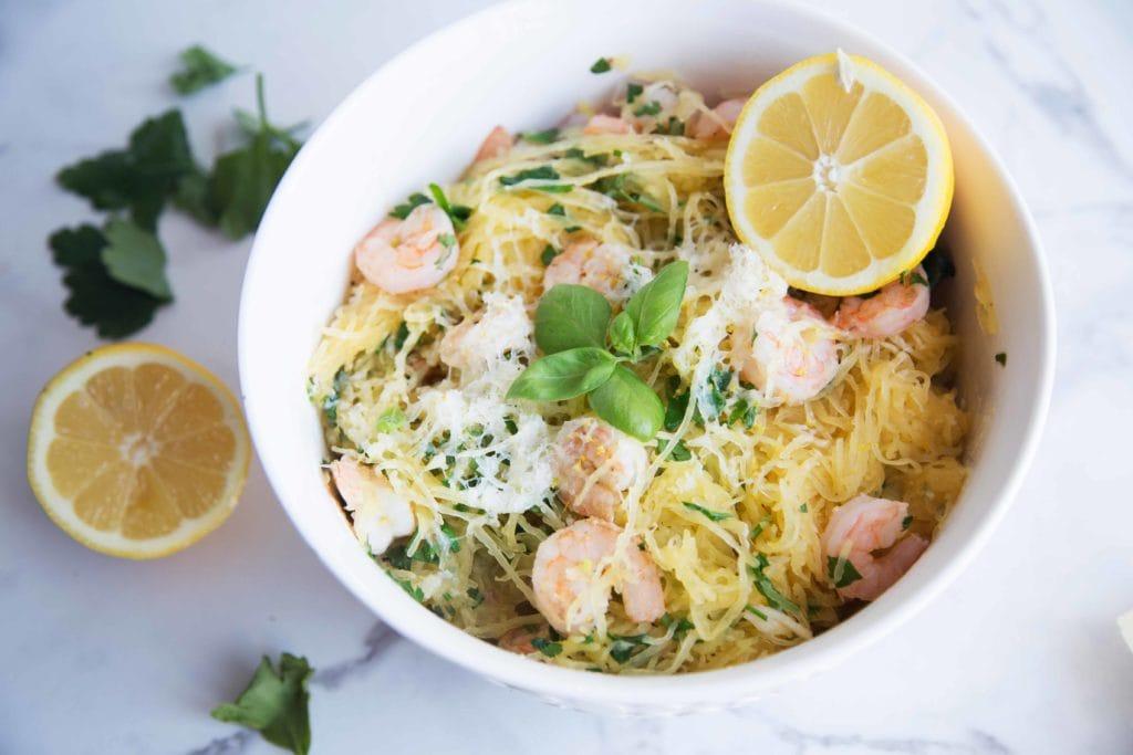Courge spaghetti aux crevettes et citron / Cinq Fourchettes