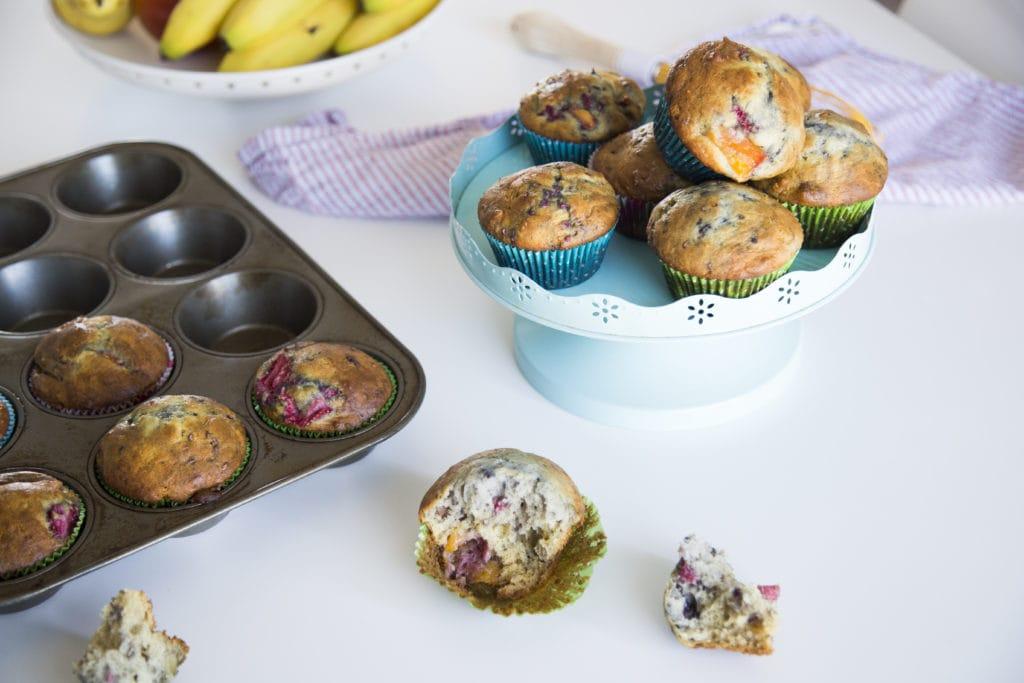 Wow ! Muffins aux fruits ( framboises, fraises et mangues) /Cinq Fourchettes