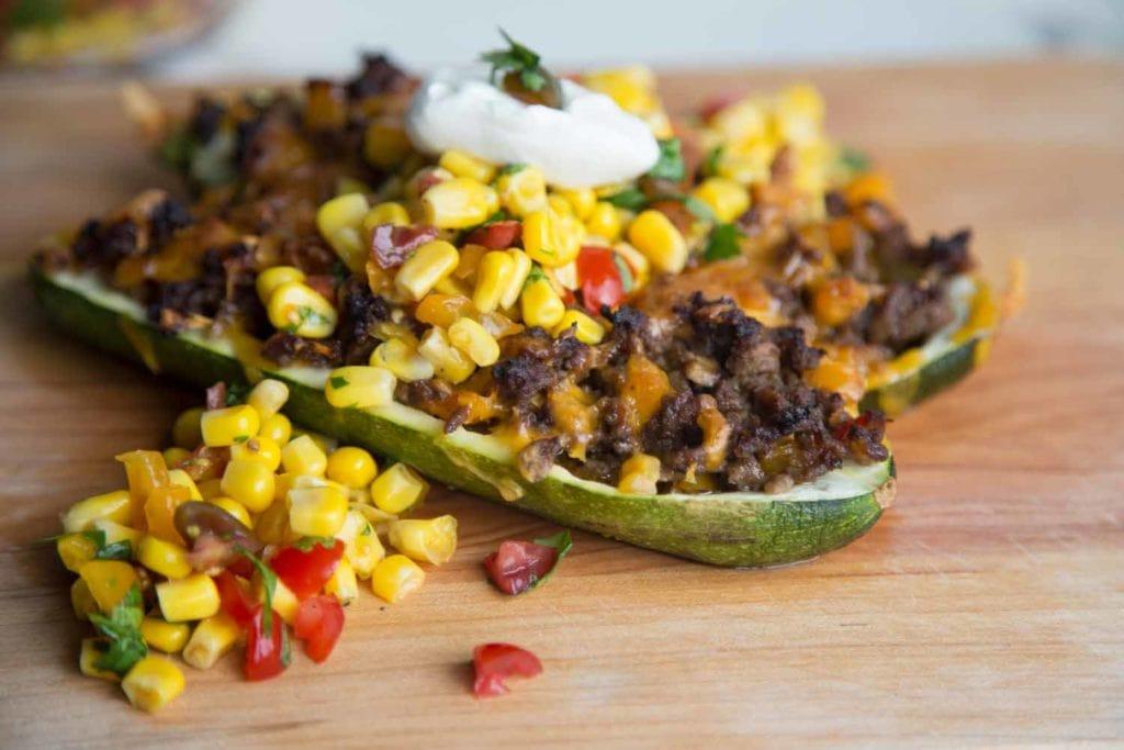 Courgettes au boeuf et porc farcies à la mexicaine Cinq Fourchettes