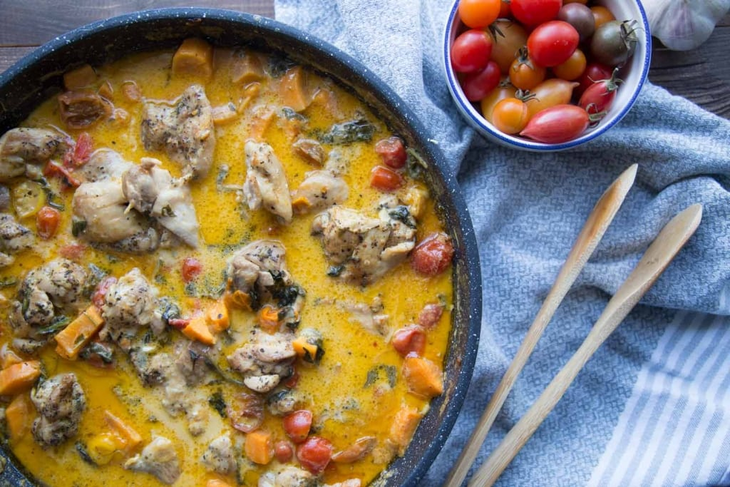 Hauts de cuisse aux épinards et patates douces Cinq Fourchettes