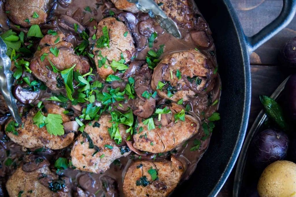 Filets de porc aux champignons Cinq Fourchettes